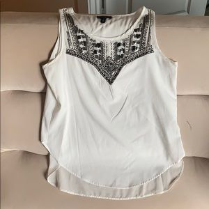 White embellished sleeveless top